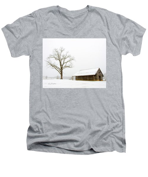 Winter Storm On The Farm Men's V-Neck T-Shirt by George Randy Bass
