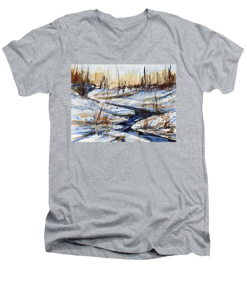 Winter Stream Men's V-Neck T-Shirt by Judith Levins