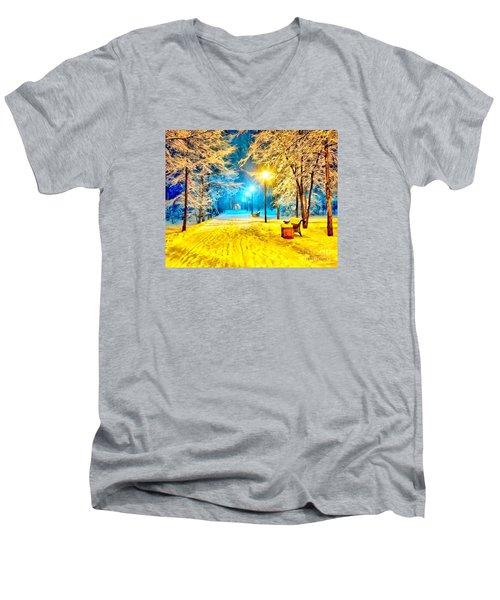 Winter Street Men's V-Neck T-Shirt by Catherine Lott