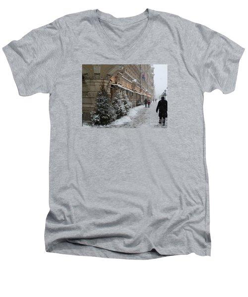 Winter Stroll In Helsinki Men's V-Neck T-Shirt