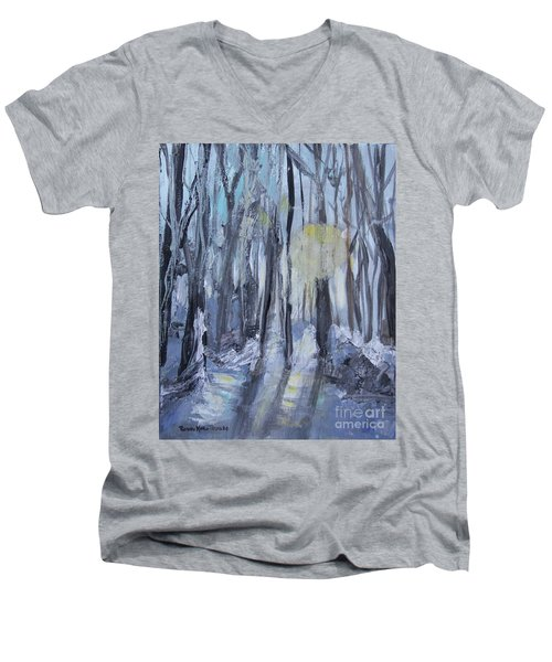 Men's V-Neck T-Shirt featuring the painting Winter Sun by Robin Maria Pedrero