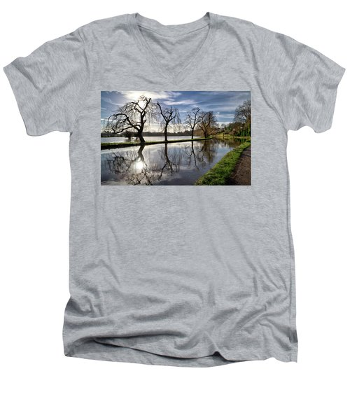 Men's V-Neck T-Shirt featuring the photograph Winter Sun by Shirley Mitchell