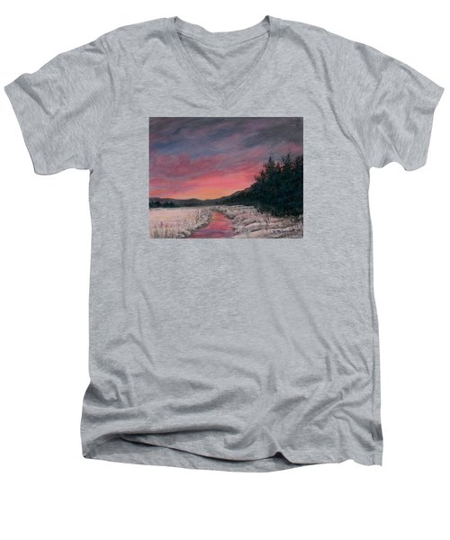 Men's V-Neck T-Shirt featuring the painting Winter Sundown by Kathleen McDermott
