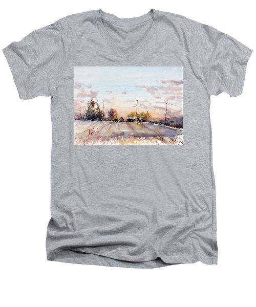 Winter Sunrise On The Lane Men's V-Neck T-Shirt by Judith Levins