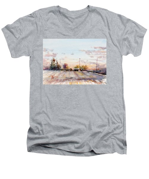 Winter Sunrise On The Lane Men's V-Neck T-Shirt