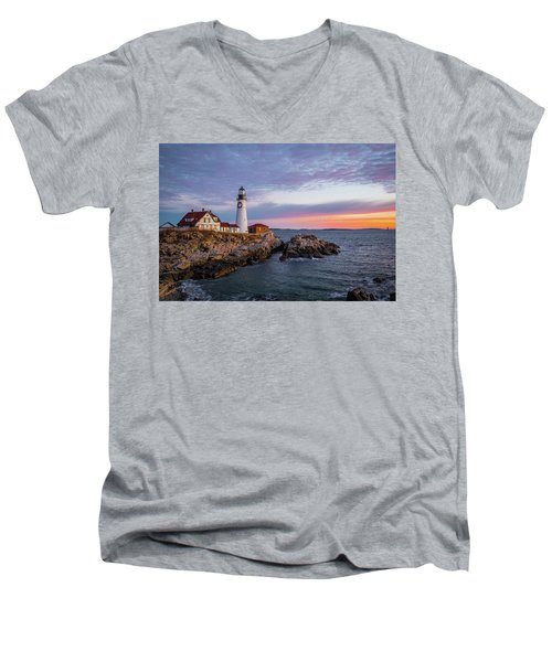 Winter Sunrise Over Portland Head Light Men's V-Neck T-Shirt