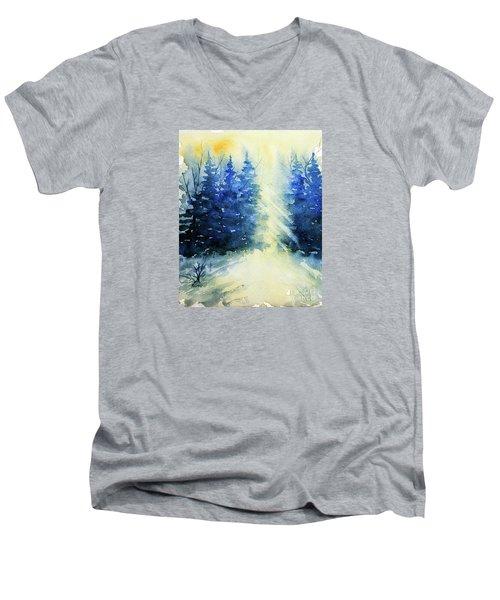 Winter Sunrise Men's V-Neck T-Shirt by Rebecca Davis