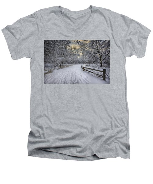 Men's V-Neck T-Shirt featuring the photograph Winter Sunrise by Sebastian Musial