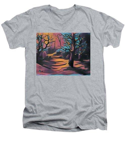 Winter Sunset Digital  Men's V-Neck T-Shirt by Megan Walsh