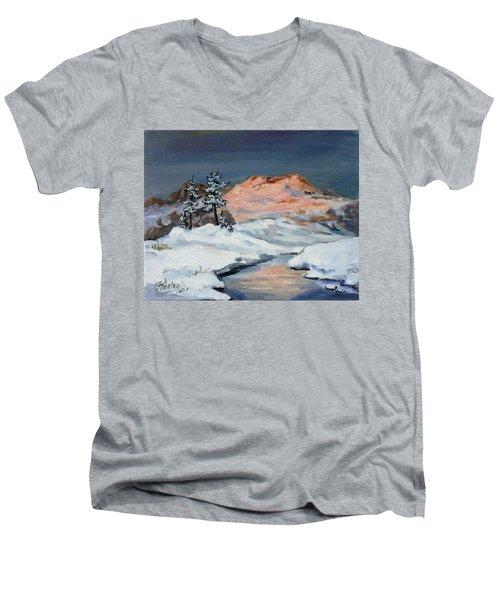 Winter Sunset In The Mountains Men's V-Neck T-Shirt by Irek Szelag