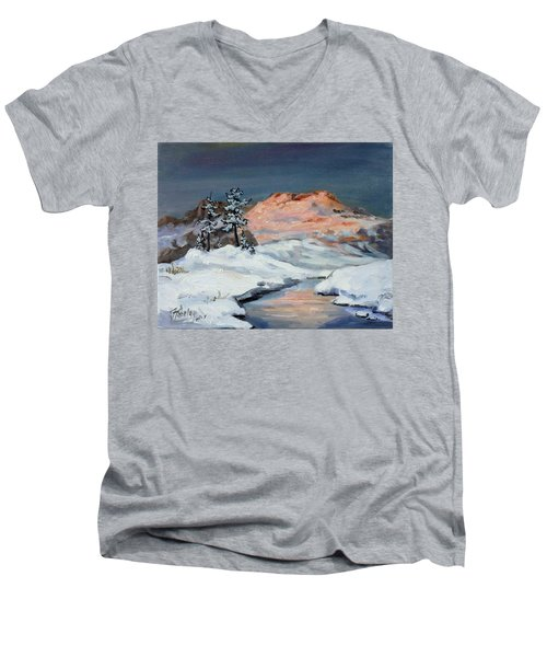 Winter Sunset In The Mountains Men's V-Neck T-Shirt