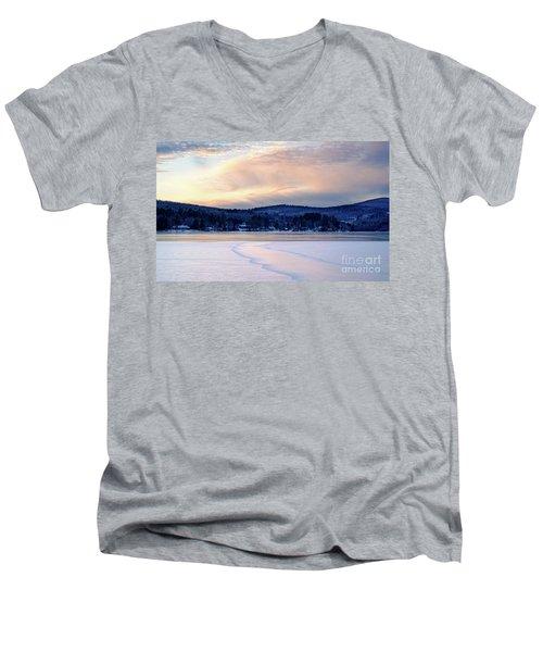 Winter Sunset On Wilson Lake In Wilton Me  -78091-78092 Men's V-Neck T-Shirt