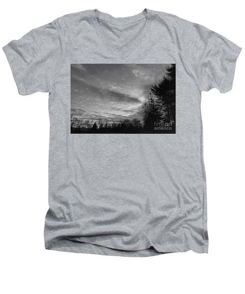 Winter Sunset On Woodland Lake Men's V-Neck T-Shirt