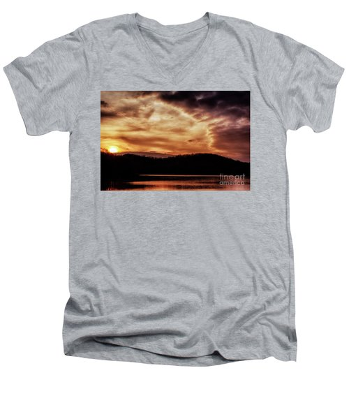 Men's V-Neck T-Shirt featuring the photograph Winter Sunset by Thomas R Fletcher