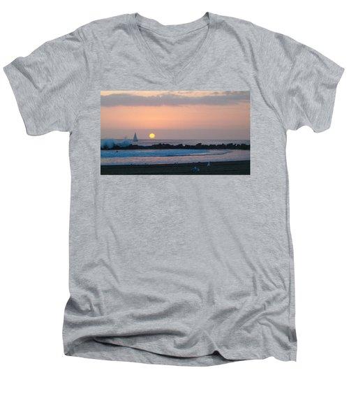 Winter Sunset, Venice Breakwater Men's V-Neck T-Shirt by Mark Barclay