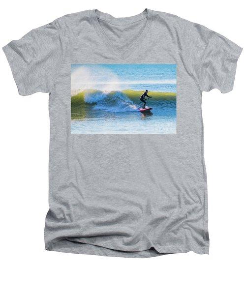 Winter Surfing In Aberystwyth Men's V-Neck T-Shirt