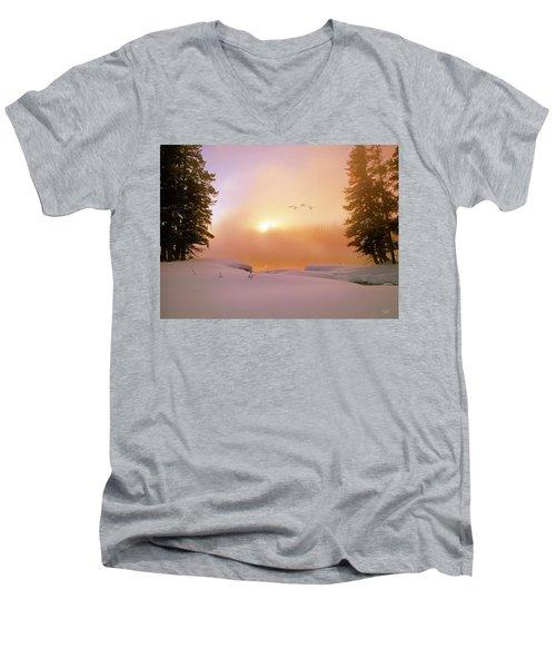 Winter Swans Men's V-Neck T-Shirt by Leland D Howard