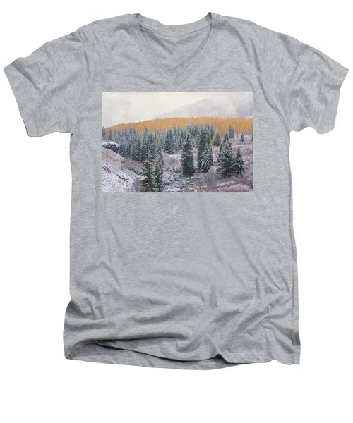 Winter Touches The Mountain Men's V-Neck T-Shirt by Kristal Kraft