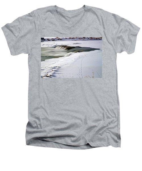 Winter Tracks Men's V-Neck T-Shirt by Eric Nielsen