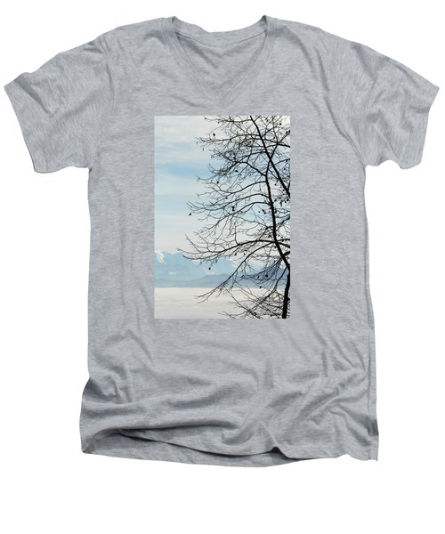 Winter Tree And Alps Mountains Upon The Fog Men's V-Neck T-Shirt by Elenarts - Elena Duvernay photo