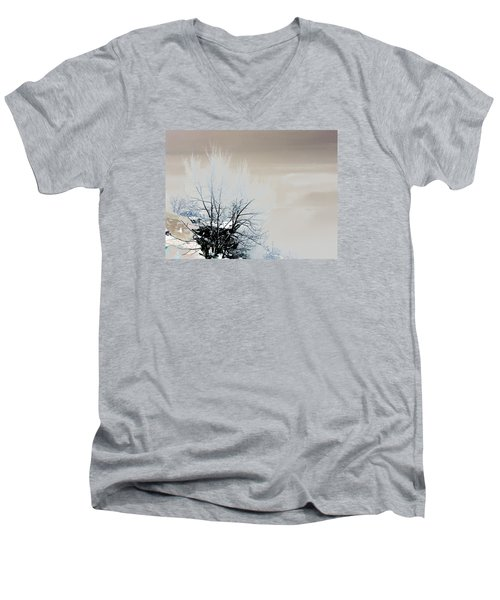 Winter Tree On Mountain Bluff Men's V-Neck T-Shirt by Frank Bright
