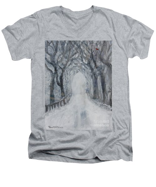Men's V-Neck T-Shirt featuring the painting Winter Tree Tunnel by Robin Maria Pedrero