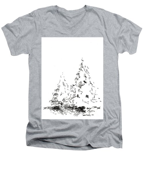 Winter Trees 1 - 2016 Men's V-Neck T-Shirt by Joseph A Langley