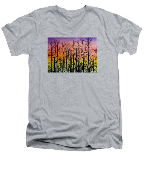 Men's V-Neck T-Shirt featuring the painting Winter Trees At Sunset by Ellen Canfield