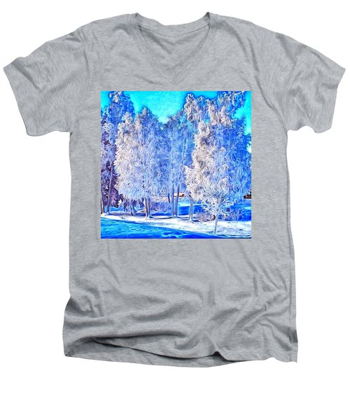 Men's V-Neck T-Shirt featuring the digital art Winter Trees by Ron Bissett