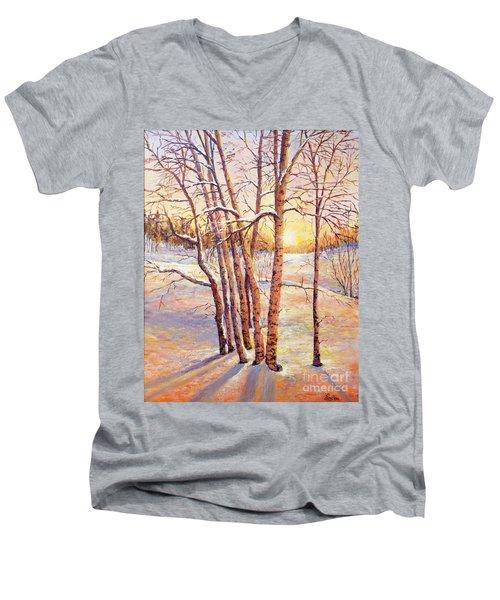 Winter Trees Sunrise Men's V-Neck T-Shirt by Lou Ann Bagnall