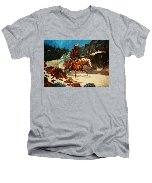 Men's V-Neck T-Shirt featuring the painting Winter Trek by Al Brown