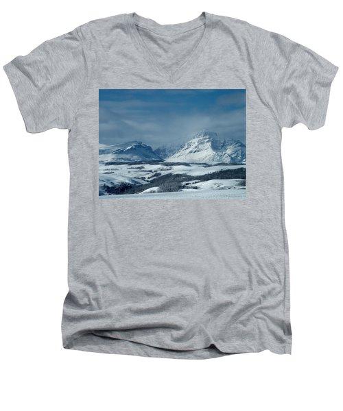 Winter View Of Rising Wolf Mountain Men's V-Neck T-Shirt