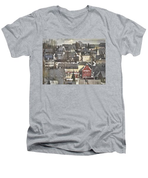 Winter Village With Red House Men's V-Neck T-Shirt