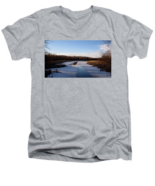 Men's V-Neck T-Shirt featuring the photograph Winter Waters At Lake Kegonsa by Kimberly Mackowski