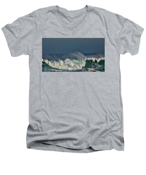 Winter Waves And Veil Men's V-Neck T-Shirt by Shirley Mangini