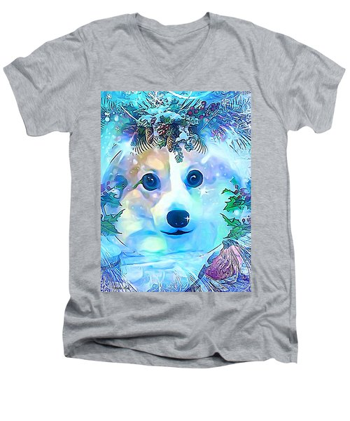 Men's V-Neck T-Shirt featuring the digital art Winter Welsh Corgi by Kathy Kelly