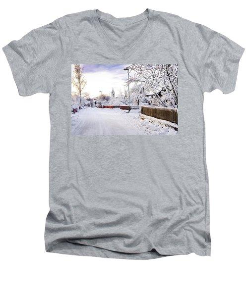 Winter Wonderland Men's V-Neck T-Shirt by Marius Sipa