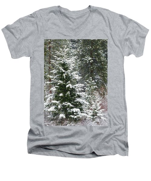 Men's V-Neck T-Shirt featuring the photograph Winter Woodland by Will Borden