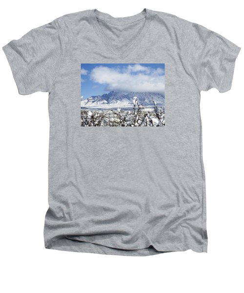 Men's V-Neck T-Shirt featuring the photograph Organ Mountains Winter Wonderland by Kurt Van Wagner