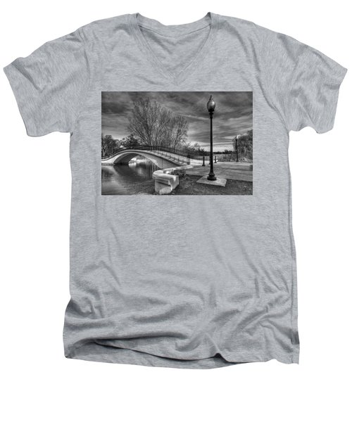 Men's V-Neck T-Shirt featuring the photograph Winter's Bridge by Rodney Campbell