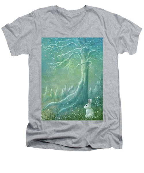 Men's V-Neck T-Shirt featuring the digital art Winters Coming by Ann Lauwers