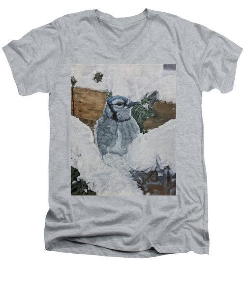 Men's V-Neck T-Shirt featuring the painting Winters Greeting by Wendy Shoults