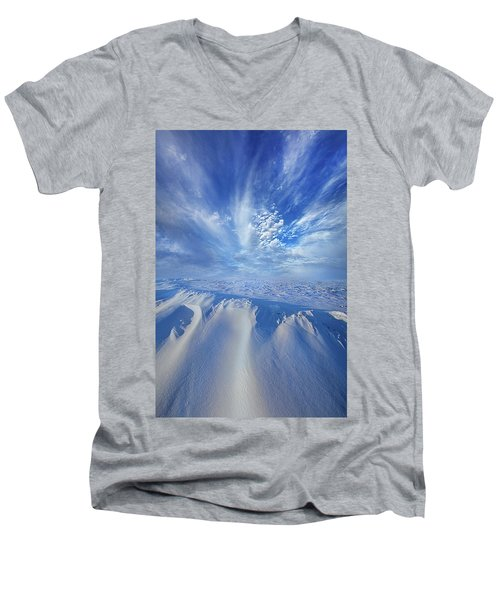 Men's V-Neck T-Shirt featuring the photograph Winter's Hue by Phil Koch