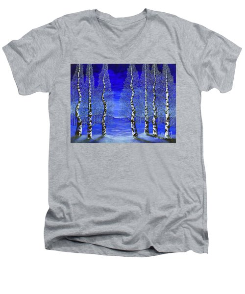 Men's V-Neck T-Shirt featuring the painting Winters Raven Aspen by Rebecca Parker