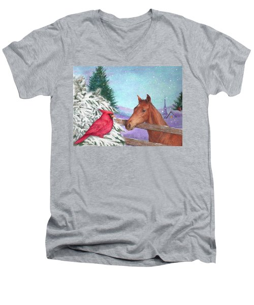 Winterscape With Horse And Cardinal Men's V-Neck T-Shirt