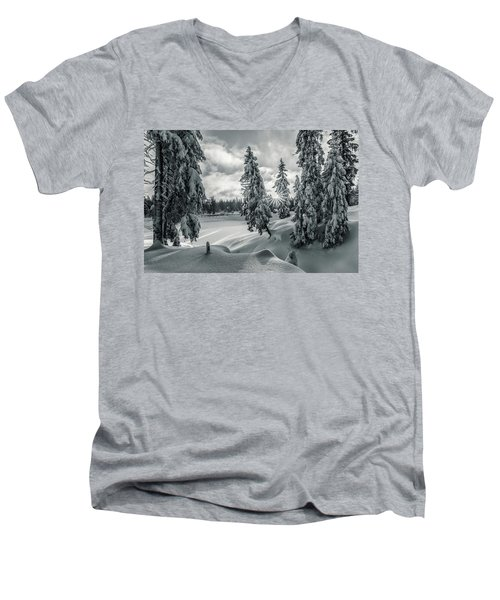 Winter Wonderland Harz In Monochrome Men's V-Neck T-Shirt by Andreas Levi