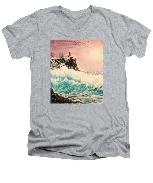 Wintery Northern Lighthouse  Men's V-Neck T-Shirt