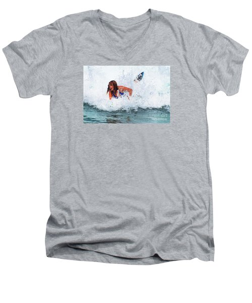 Wipeout - Painterly Men's V-Neck T-Shirt by Scott Cameron