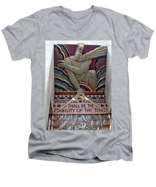 Wisdom Lords Over Rockefeller Center Men's V-Neck T-Shirt