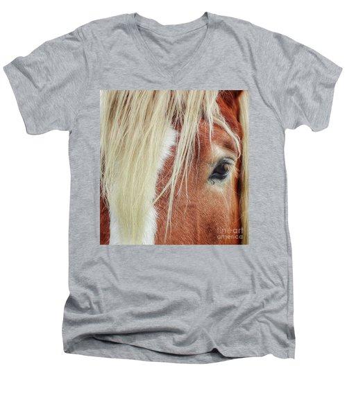 Wise One   White Mane Men's V-Neck T-Shirt